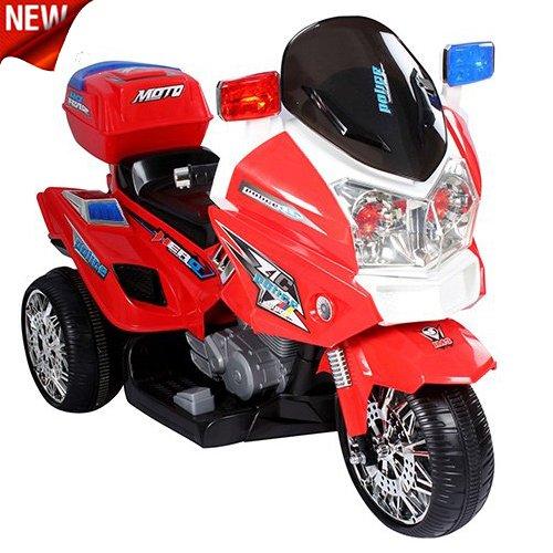 crooza US HighWay Patrol POLIZEI MOTORRAD Elektro Kindermotorrad Roller Kinderfahrzeug (Rot)