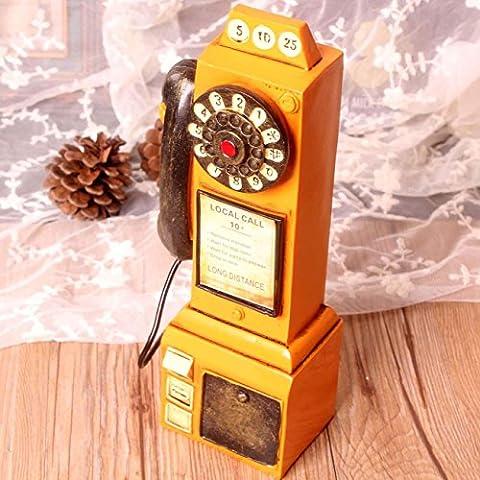 Rétro téléphone à modeler Tirelire Creative Cadeau Résine Artisanat Ornements décoratifs pour le salon Chambre à coucher Cafe