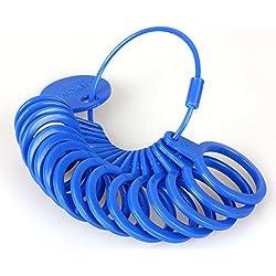 Anillo métrica Medidor de plástico, para el diámetro de anillos azul