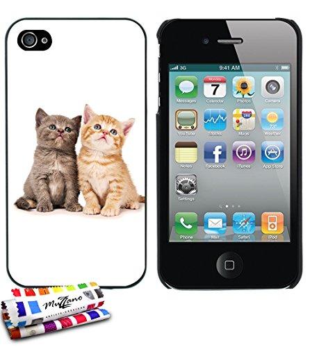 Ultraflache weiche Schutzhülle APPLE IPHONE 4 / IPHONE 4S [Katze] [Lila] von MUZZANO + STIFT und MICROFASERTUCH MUZZANO® GRATIS - Das ULTIMATIVE, ELEGANTE UND LANGLEBIGE Schutz-Case für Ihr APPLE IPHO Schwarz