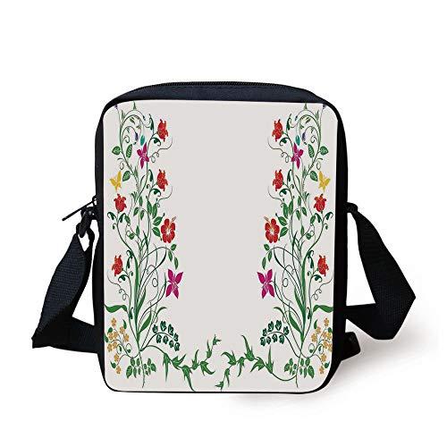 Flower Decor,Oriental Design with Floral Leaves Buds Frame Like Ivy Decor Natural Image,Multicolor Print Kids Crossbody Messenger Bag Purse