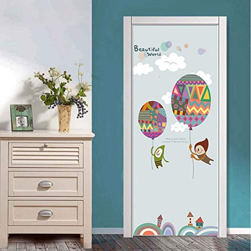 Pandaboom 3d cartoon boy con aria calda ballon door sticker murale autoadesivo adesivo per camera dei bambini camera da letto armadio porta rinnovare decalcomania 95x215cm