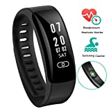 Fitness Tracker, Arvin Heart Rate Swimming Watch Blood Pressure Monitor Pedometer Sports Bracelet Smart Watch Bluetooth Health Tracker Wristband with Sleep monitor/ Swim Counter/ Step Tracker/ Calorie Counter/ Alarm Clock/ Call & Message Reminder/ Sedentary Reminder for Android & iOS Smartphone
