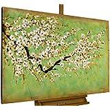 KunstLoft® cuadro acrílico 'Cerezo en flor' 120x80cm | Original pintura XXL pintado a mano en lienzo | Árbol con flores blancas en verde y menta | Mural acrílico de arte moderno en una pieza con marco