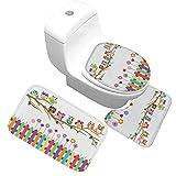 Gnzoe Flanell Teppich/Toilettenmatte-Set Zaun Eule Muster Design Teppiche für Flur Schlafzimmer Bunt 80x50CM