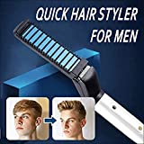 Men Quick Beard Straightening Styler Comb,Curly Hair Straightening Comb, Magic Massage Comb, Hair Straightener/Curler Permed Clip Comb for DIY Flexible Modeling,Natural Side Hair Detangling