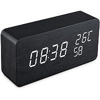 Reloj despertador Qoosea LED Reloj de alarma de madera Comando de voz táctil Relojes digitales USB Reloj de madera moderno 3 niveles Brillo ajustable 3 Alarmas Reloj de escritorio Hora de la muestra Temperatura de la semana para el hogar Habitación de oficina