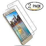 [2 Pack] Protector de Pantalla Cristal Templado para Huawei Honor 7 Wellead Vidrio Templado Película Anti-rasguños 0.3MM Alta Transparencia ( Regalo 1 TPU Funda )
