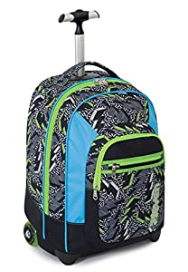 TROLLEY FIT - SEVEN - THUNDER - 2in1 Wheeled Backpack with Disappearing Shoulder Straps - Black Green 35Lt from Seven