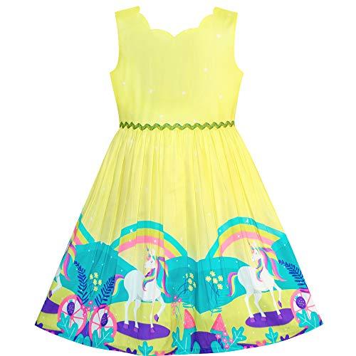 Mädchen Kleid Einhorn Regenbogen Karikatur Gelb Prinzessin Gr. 122