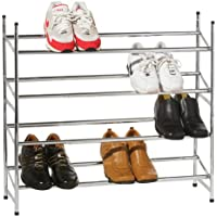 Premier Housewares Rastrelliera per scarpe cromata a 4 livelli, 72 x 113 x 23 cm