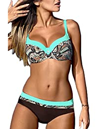 OLIPHEE Bikini Set Swimwear con Bretelle Regolabili Bikini Colorati Brasile  con Ferretto Push Up 431544a43b96