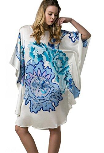prettystern - 100% Seide Kimono Nachtkleid Nachthemd mit Handbemalter Chinesischer Malerei - Ybs801 Elfenbein Phönix & Blüten