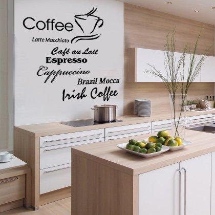 Indigos w198 Wandtattoo Küche Kaffee mit Coffee, Cappuccino und Kaffeetassen Motiv, selbstklebendes...