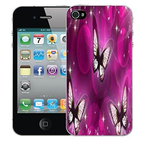 Nouveau iPhone 4 clip on Dur Coque couverture case cover Pare-chocs - whispy butterflies Motif avec Stylet whispy butterflies