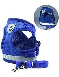 Zolimx® Ropa Para Mascotas Perros, Mascotas Cachorro Perro Suave Malla Caminar Pecho Collar Correa Durable al Aire Libre Chaleco (Azul, S)