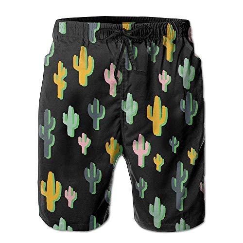 Sommer Bunte Kaktus Herren Strand Hosen lässig schnell trocknend Badeanzüge Badehose Cargo Shorts mit Taschen L
