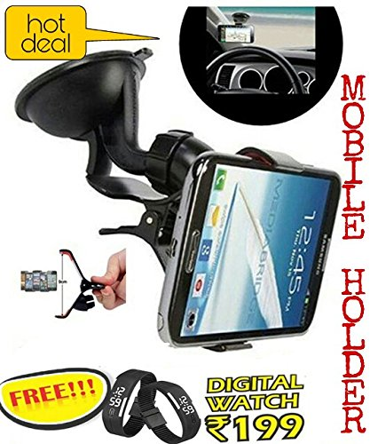 Universal Car Mount holder/Windshield/Dashboard/Working Desk holder With 360 Degree Rotating Base With Flexible Arm To Position Mobile For All Smartphones and (Get a digital wrist band cum watch worth Rs199 absolutely FREE with every purchase from zed bone only)