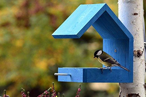 Luxus-Vogelhaus 38463e Vogelfutterhaus aus Holz zum Hängen mit Satteldach und Anflugstange (Vogelhaus), azurblau - 4