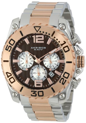 Akribos XXIV Men's AK639TTR Conqueror Chronograph Silver-tone and Rose-tone Stainless Steel Bracelet Watch