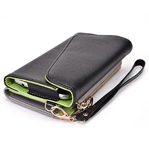 Kroo d'embrayage portefeuille avec dragonne et sangle bandoulière pour Sony Xperia Z3 Black and Orange Noir/gris