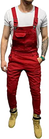 Men Dungarees Jumpsuits Denim Trousers Moto Biker Jeans Casual Retro Combat Cargo Bib Overalls (S, Red)