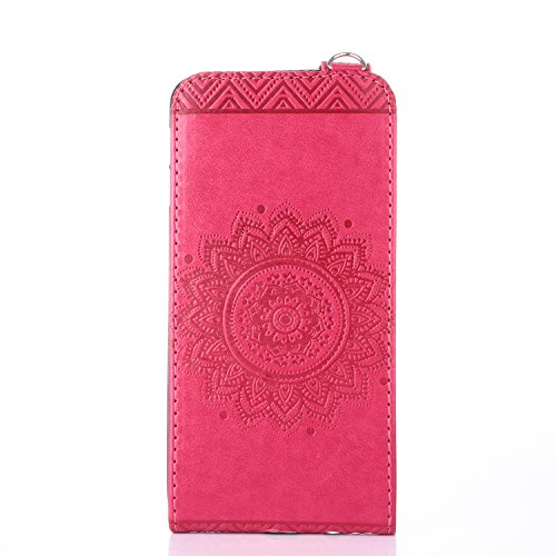 Samsung Galaxy J7 Prime Hülle Leder Tasche Flip Cover Samsung Galaxy J7 Prime Wallet Case Alfort Stilvoll Handycover Rose Rot Mandala Blumen Muster PU Ledercase Brieftasche Handyhülle für Samsung Gala Rose Rot