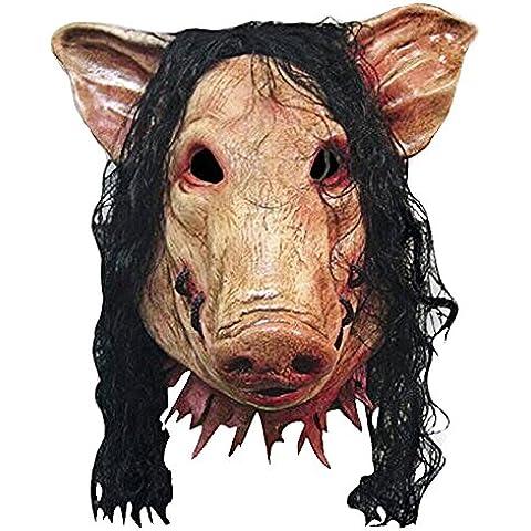 BEETEST Fiesta de Halloween Máscara de látex miedo espeluznante del cerdo Cosplay traje de mascarada del