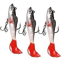 Domybest 3Pcs Señuelos de Pesca Suave con Ojos 3D