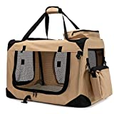 Zedelmaier Faltbare Hundebox Transportbox Hundekäfig mit verschiedenen Größen und Farben (L - 70 x 52 x52 cm, Beige)