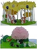 3D Geburtstagskarten - 2 Stück (Motive: Hasen mit Landschaft & Eichhörnchen mit Landschaft) - Pop-Up-Karten - handgefertigt - inclusive Umschlag und Schutzhülle - Gruß-Karte,Glückwunsch-Karte