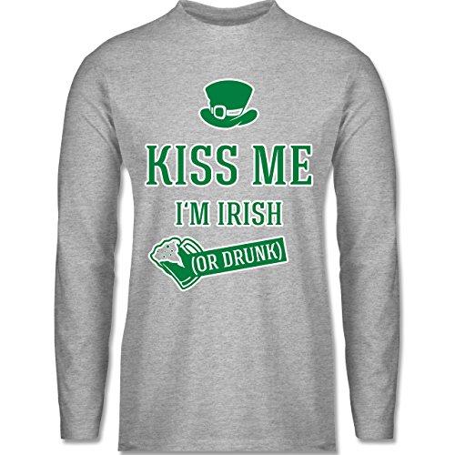 Festival - St. Patricks Day Kiss me I'm Irish or drunk - Longsleeve / langärmeliges T-Shirt für Herren Grau Meliert