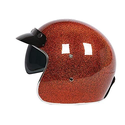 SXC Vintage Harley Motorradhelm Persönlichkeit Lokomotive Helm 3/4 Halbhelm Abnehmbarer Ohrstöpsel DOT/ECE-Zertifizierung Geeignet für Männer und Frauen