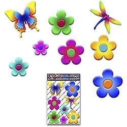 FLORES y volantes Adhesivos para auto del paquete de animales de libélulas de mariposas pequeñas - ST00056_1 - Pegatinas JAS