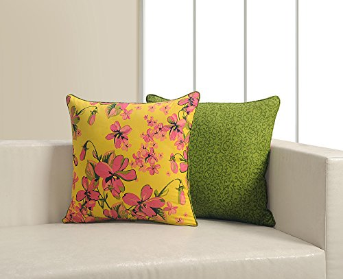 ShalinIndia Yellow And Green Floral Cushion Cover Set With 2 Throw Pillow Covers Cotton Fabric 18x 18 Inch