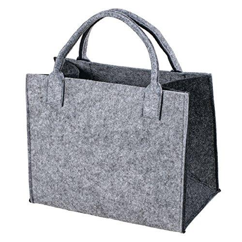 LaFiore24 Hochwertige Filztasche Einkaufstasche Damen Shopper Handtasche Henkeltasche Festivalbag hell grau-dunkel grau - Farbe Helle Küche