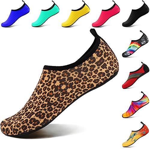 VIFUUR Wassersport Schuhe Barfuß Quick-Dry Aqua Yoga Socken Slip-on für Männer Frauen Kinder Leopard Orange EU36/37 Orange Slip On