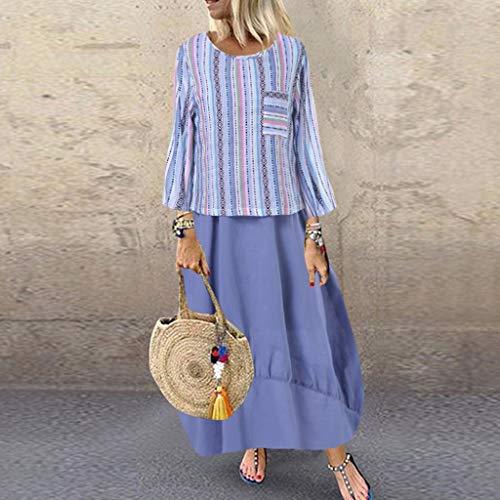 TianranRT♕ Frauenkleid,Langarm Freizeitkleid Mit Rundhalsausschnitt Und Langarm Mit Fashion Woman Print,Blau -