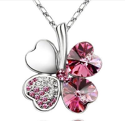 Cristal Cuatro hojas Lucky trébol Colgante 18 pulgadas de cadena plateada-Rosa Pink por ElleClub