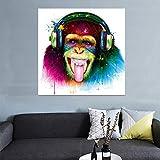ADGUH Leinwanddrucke große Tier AFFE Leinwand gedruckt Gemälde Moderne lustige Denken Gorilla mit Kopfhörer Wandkunst für Wohnzimmer Dekor