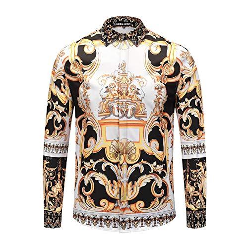 Chens manica lunga/classica/casual/m shirt da uomo stampata cintura moda cupido fiore amore america gioventù notte club maniche lunghe in cotone