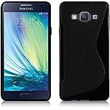 VCOMP® Housse Etui Coque souple silicone gel motif S-Line pour Samsung Galaxy A3/ A3 Duos (non compatible Galaxy A3 (2016)) - NOIR