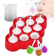 Moldes de Silicona para Hielo, LovelyHome 9pcs Mini Moldes para Helados sin BPA Silicona de Grado Alimenticio Ice Pop Maker DIY Reutilizable Ice Cream Moldes para Bebés y Niños