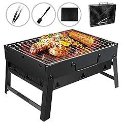 Idea Regalo - Gifort Barbecue Carbone Portatile, Barbecue Pieghevole per BBQ Barbecue e Rete Metallica BBQ in Acciaio Inox per Barbecue, Feste, Picnic, Campeggio (Nero)