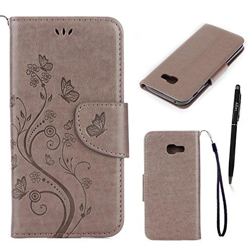 Preisvergleich Produktbild Samsung Galaxy A5 2017 Hülle, Alfort Grau Schutzhülle mit Wallet Case Touch Pen