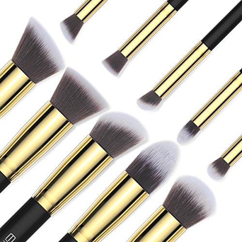 EmaxDesign Make up Brushes 10+1 Pieces Makeup Brush Set, 10 Pieces Professional Foundation Blending Blush Eye Face Liquid Powder Cream Cosmetics Brushes & 1 Piece Black Beauty Sponge Blender With Bag