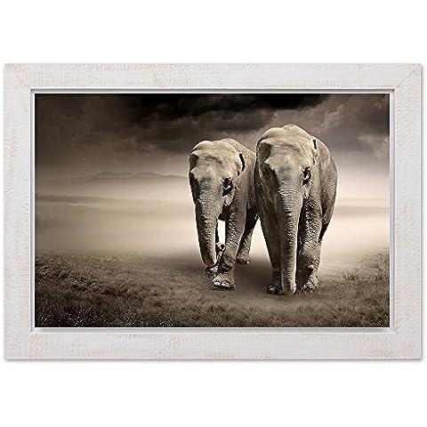 Feeby Frames, Cuadro en marco vintage, cuadro decorativo, cuadro de pared, (30x40cm) DOS ELEFANTES, GRIS,