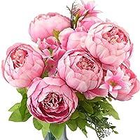 FiveSeasonStuff Vintage Artificial Flowers Light Pink Peony and Hydrangeas (1 Bouquet)