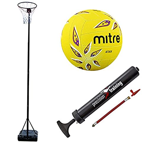 Bee-Ball Adjustable Netball Post Package. Netball Hoop, Premium Mitre Attack Netball and Pump (10ft/3.05m, INF Approved Height)