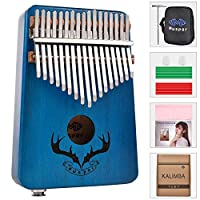 azurely Muspor Kalimba 17 Keys Solid Mahogany EQ Thumb Finger Piano, Portable Finger Thumb Piano Built-in Pickup (Reindeer Horn)